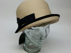 Canadian Hat straw crushable cloche with black trim