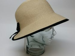 Canadian Hat natural cloche with black trim.