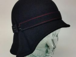 Canadian Hat pinched cloche with multi color stiching